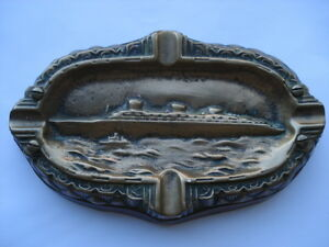 Vintage 1930s Vintage SS Normandie Ashtray On Wooden Plinth