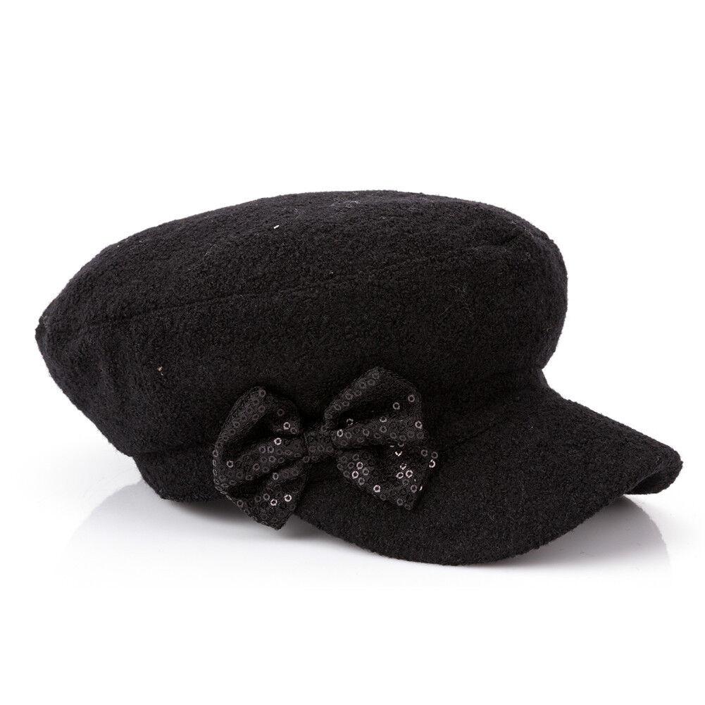 166c85736cb778 Details about New Women's Ladies Winter Autumn Wool Military Hats Cadet  Flat Ivy Newsboy Caps