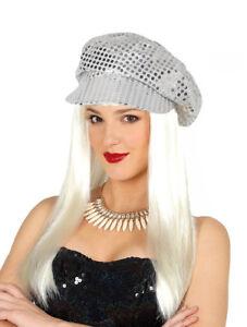 Women/'s Disco Popstar 1960/'s LULU Silver Sequin Fancy Dress Costume Hat Cap Hen