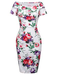 Retro-Vintage-Short-Sleeve-Off-Shoulder-Bodycon-Pencil-Dress-Slim-Fit-Floral