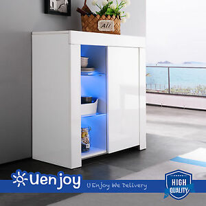 Image Is Loading High Gloss White Cabinet Cupboard Sideboard With LED