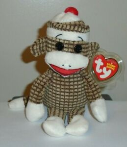Ty Beanie Baby - SOCKS the BROWN QUILTED SOCK MONKEY - MINT with MINT TAGS