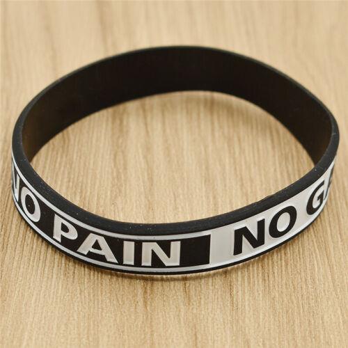NO PAIN NO GAIN Printed Silicone Bracelet Wristband Motivation Bracelet Bangle