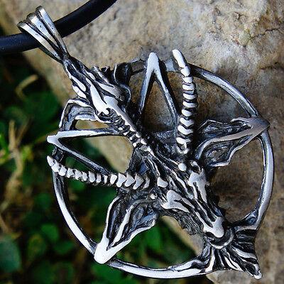 Lucifer Goat Laveyan Baphomet Inverted Pentacle Pentagram Star Pewter Pendant