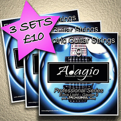 3 full sets of adagio electric guitar strings 9s 1st class post extra light ebay. Black Bedroom Furniture Sets. Home Design Ideas