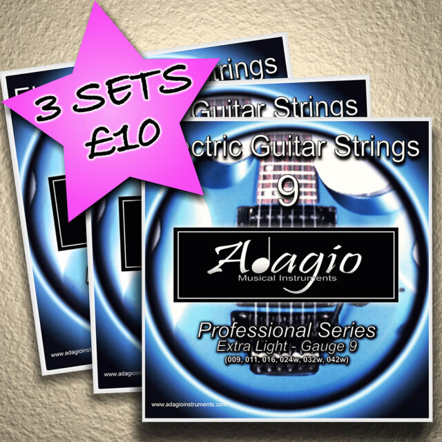 3 full sets of adagio electric guitar strings 9s 1st class post for sale online ebay. Black Bedroom Furniture Sets. Home Design Ideas