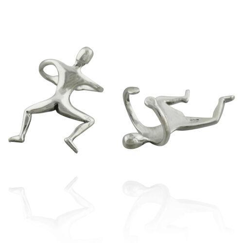925 Sterling Silver Men Wrap Pair Funny Gift Climbing Man Ear Cuff Earrings