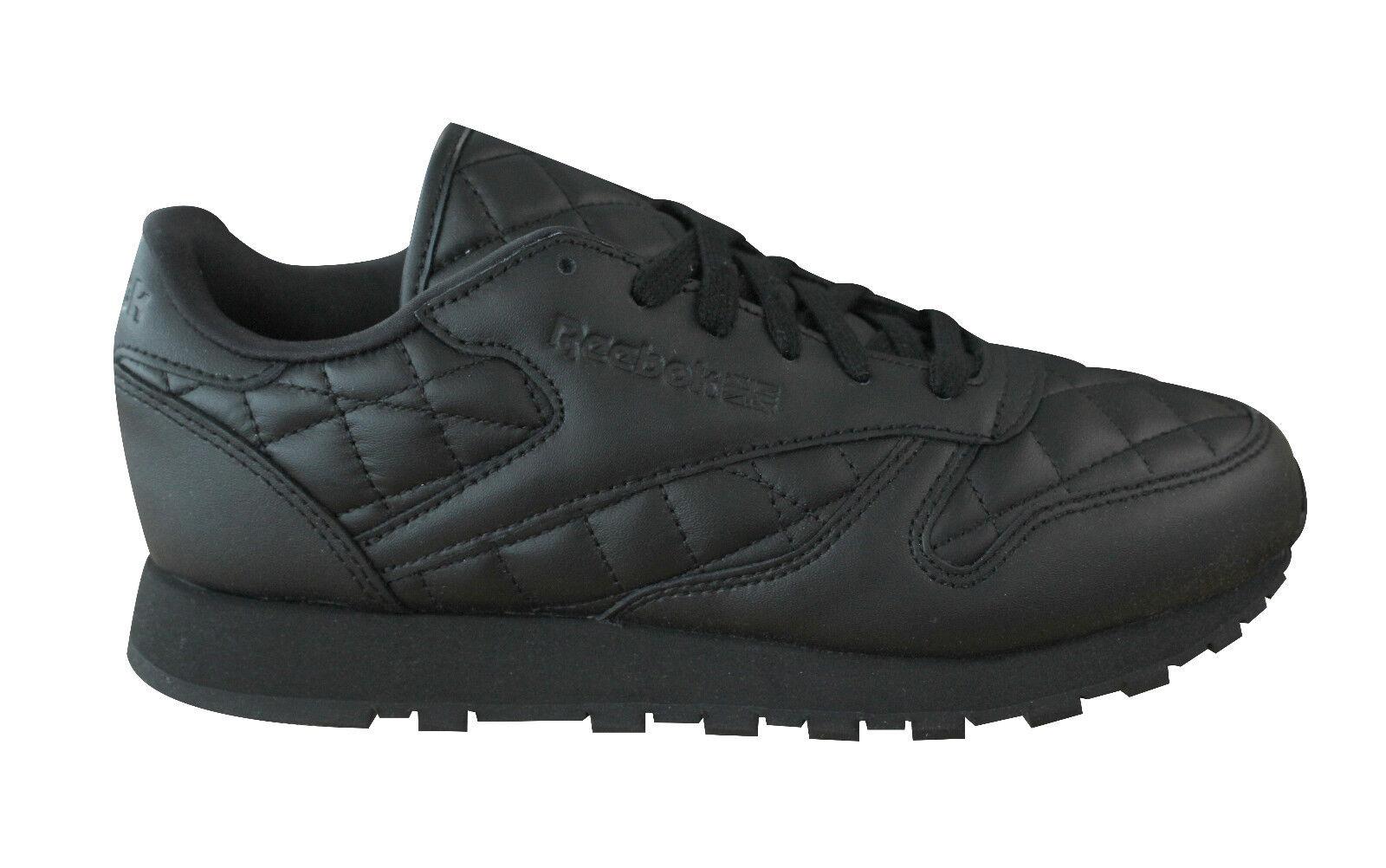 Reebok Cl Cuero Cuero Cuero Clásico Acolchado Zapatillas de Mujer Negro con Cordones AR1263  alta calidad y envío rápido