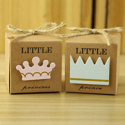 15x Little Prince Baby Shower Tags Blue Crown