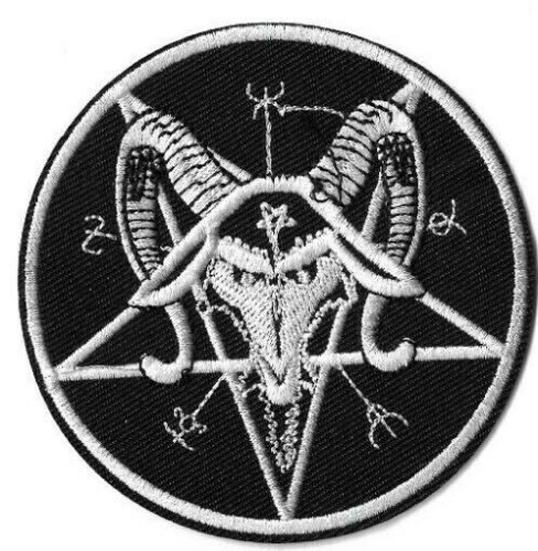 Pentagram Star Goat Round Patch Lot of 2 Embroidered Iron or Sew On Devil//Evil