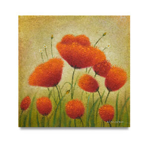 NY-Art-Heavy-Texture-Surreal-Poppies-24x24-Original-Oil-Painting-on-Canvas