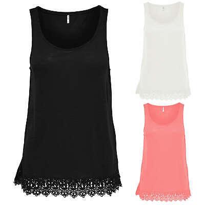 ONLY Damen Shirt Bluse Tunika ELAINE CROCHET 3//4 LONG TOP blau weiß Spitze NEU