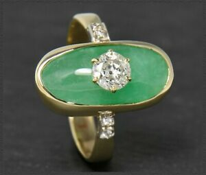 Antiker-Brillant-amp-Jade-Ring-Solitaer-Diamant-0-57ct-Cocktailring-aus-585-Gold