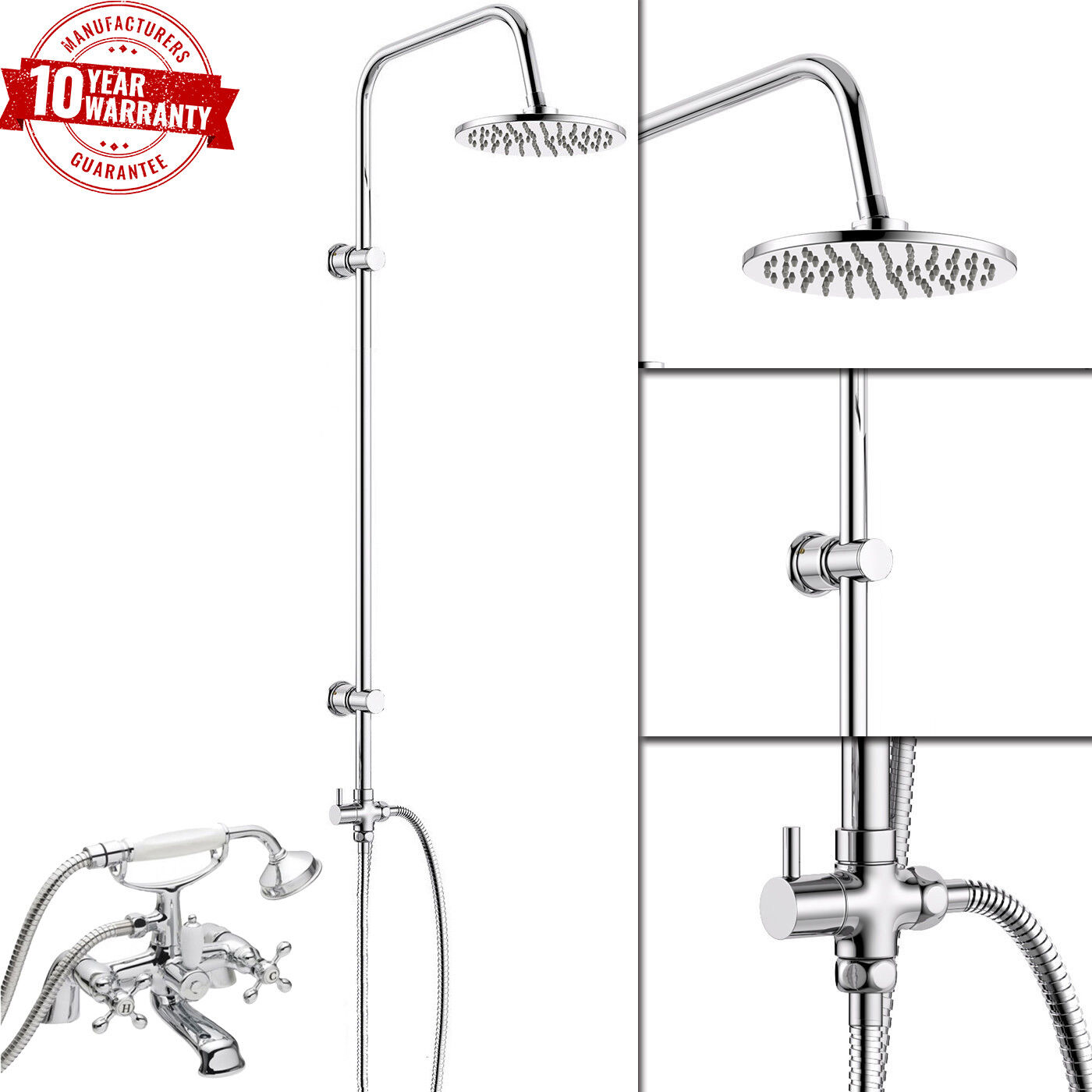 Traditionnel bain douche mitigeur grand combiné & 3 WAY ROUND rigide Riser Kit  V