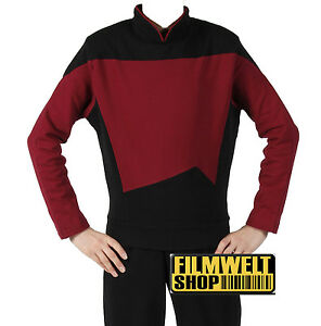 STAR-TREK-Uniform-TNG-Baumwolle-Captain-rot-L-Super-Deluxe-ovp