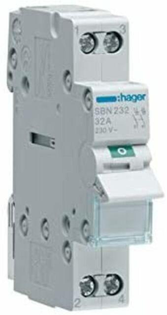Hager SBN232 - Interruptor seccionador bipolar 230V 32A 2P
