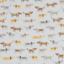 Cute Sausage Dog on Duck Egg Blue Linen Look Fabric *Curtain/Upholstery/Blinds**