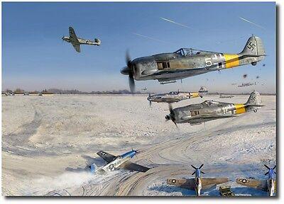 BODENPLATTE – Debacle at Y-29  by Jack Fellows - Me-109 - Aviation Art Prints