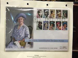 Queen-Mother-First-Day-Cover-With-Solid-22-Ct-Gold-1-4-Oz-Coin