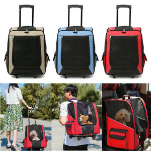 Pet-Carrier-Stroller-Trolley-Foldable-Dog-Cat-Puppy-Travel-Rolling-Backpack-Cage