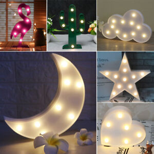 Details About Star Moon Flamingo Shape Led Decorative Light Wall Moute Desk Night Lamp Home
