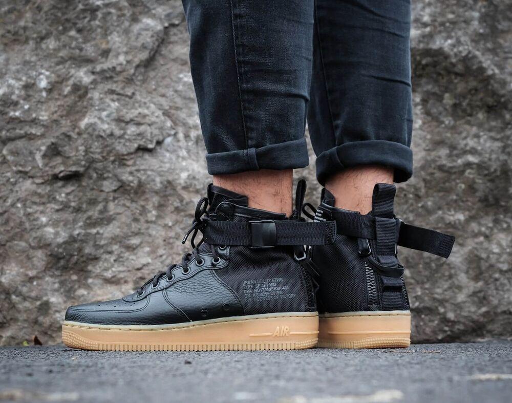 Homme Nike SF AF1 Air Obliger 1 Mid Taille 10 Eur 45 (917753 003) Noir/Gomme-