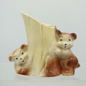 "5 1/2"" Bears Cubs Hugging a Tree Stump Ceramic Planter Figurine Vintage MCM Baby"