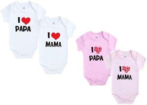 BabyBody I Love Mama Papa Baby bodySuit Strampler Mit Spruch Family King Queen