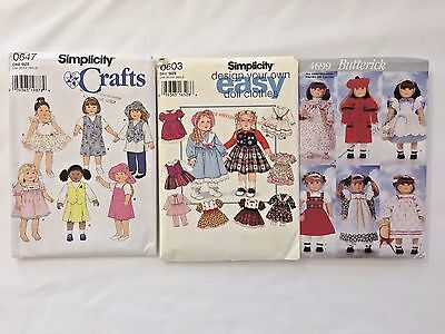 Lot 3 18 Inch Doll Clothes Sewing Patterns 4699 0603 0647 Dress Hat Coat Pant +