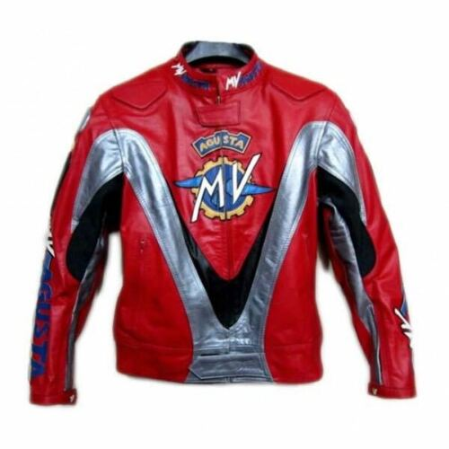 "/""MV AGUSTA/"" RED SILVER MOTORCYCLE MOTO GP MOTORBIKE RACING LEATHER RIDING JACKET"