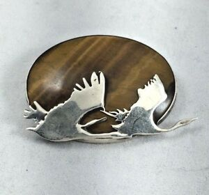 Beautiful-LAH-Sterling-amp-Tigers-Eye-Large-Flying-Bird-Pin-Brooch