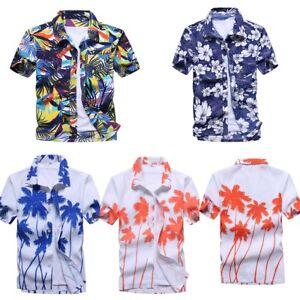 Mens-Beach-Hawaiian-Shirts-Summer-Casual-Short-Sleeve-Floral-Printed-Tops-Blouse