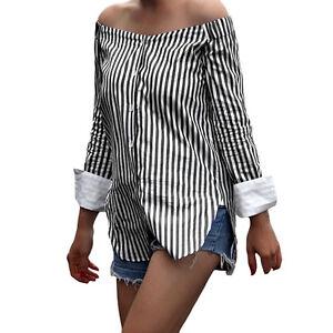 613df57abb8 Image is loading Women-Off-Shoulder-Blouse-Stripes-Print-Slash-Neck-