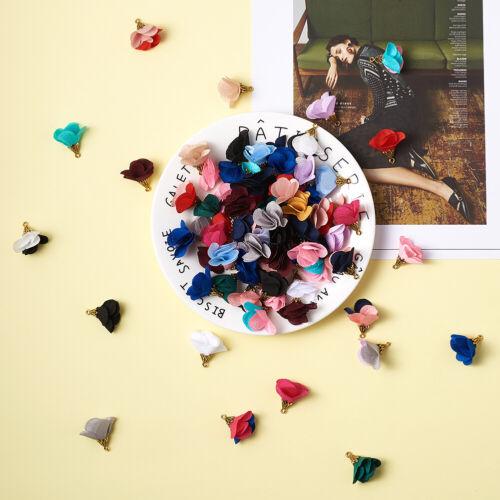 100 piezas de oro Aleación Colgantes Hallazgos tela flor encantos color mezclado 25x24mm