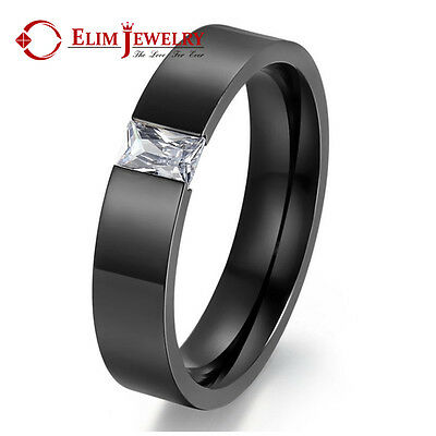 6mm Men's Women's Stainless Steel Black Band Ring Shining CZ Crystal Wedding