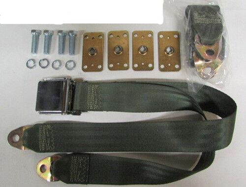 "60/"" 2 Olive Green Seat Belt Non Retractable Lap Seat Belts Retrofit Mtg Kit"