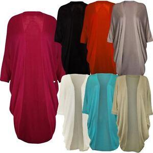 New Womens Plus Size Kimono Batwing Sleeve Long Waterfall Cardigan ...
