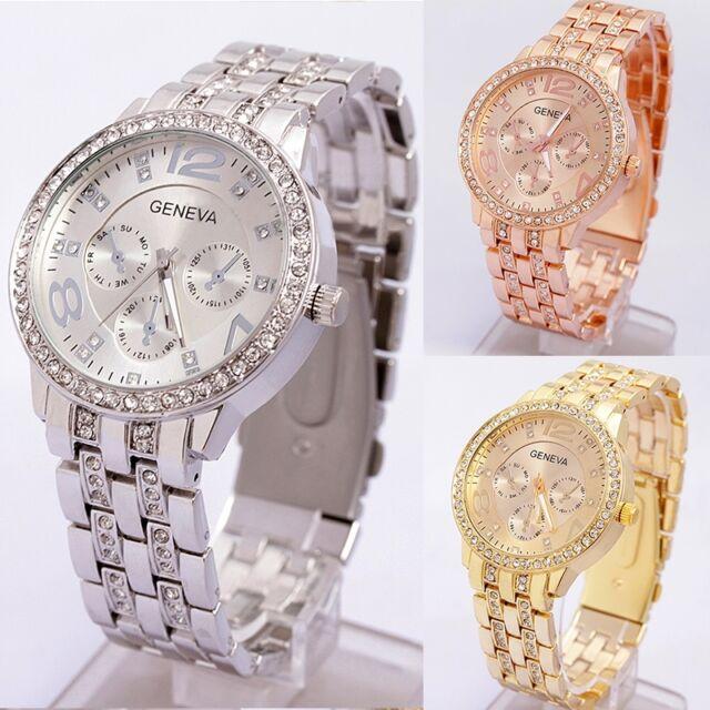 Hot Unisex Crystal Geneva Bling Women Girl Stainless Steel Quartz Wrist Watch