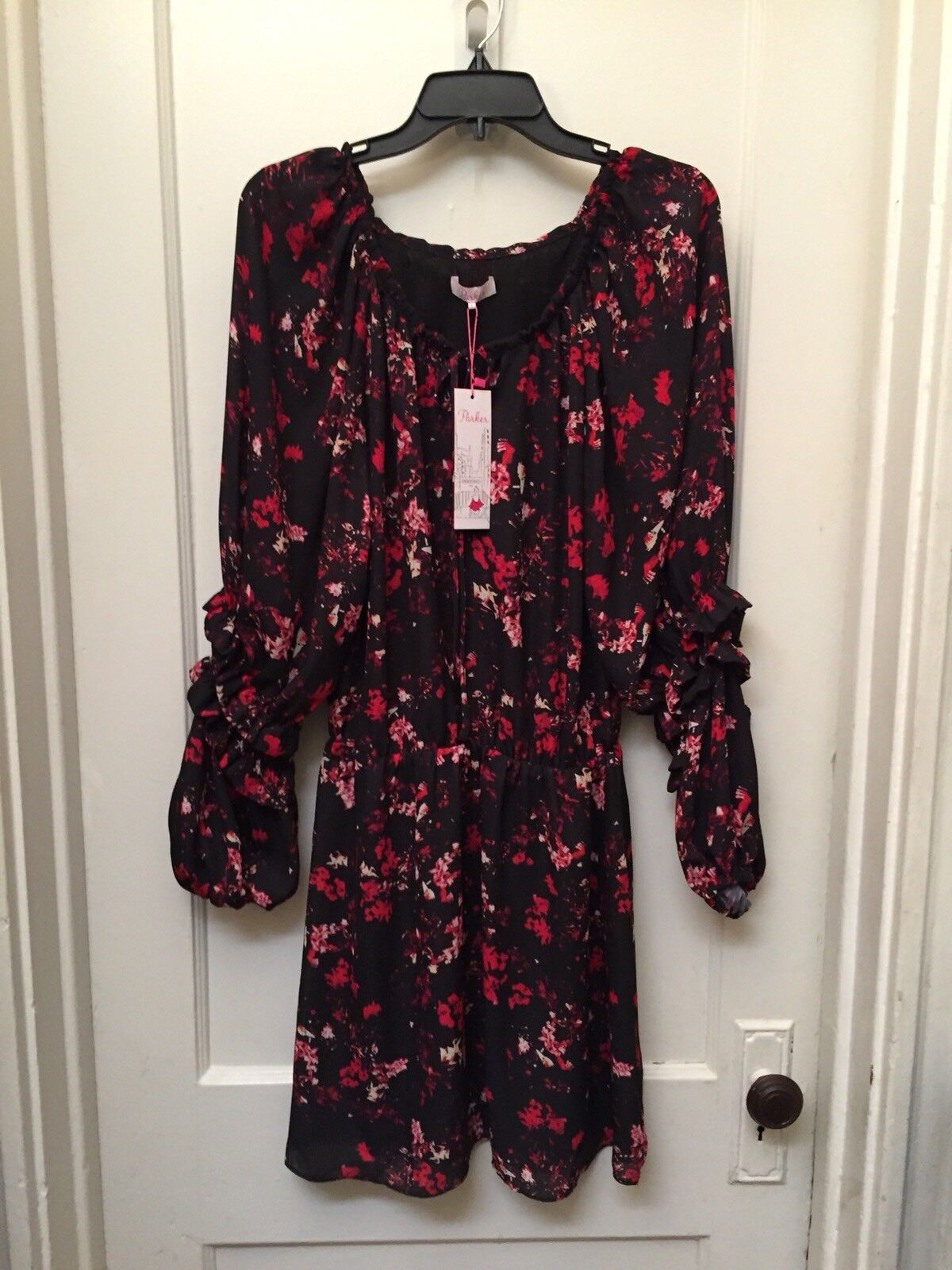 PARKER LONG SLEEVE FLORAL RUFFLED DRESS NEW SIZE S  288.00