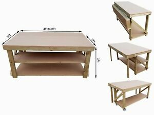 Astonishing Details About Workbench With Folding Mdf Top Wooden Industrial Garage Mobile Table With Wheels Frankydiablos Diy Chair Ideas Frankydiabloscom