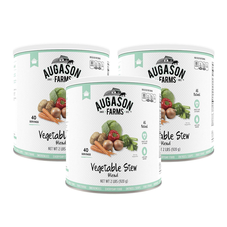 Augason Farms Vegetable Stew 3 pk 33 oz Size Cans Emergency Food Storage
