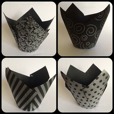 50 Black & Silver Patterned Tulip Shaped Muffin Cake Cases/Wraps