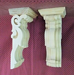 PAIR of Large Victorian Wood Corbels Unfinished #7306