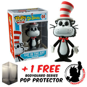 FUNKO POP DR SEUSS CAT IN THE HAT FLOCKED #04 EXCLUSIVE + FREE POP PROTECTOR