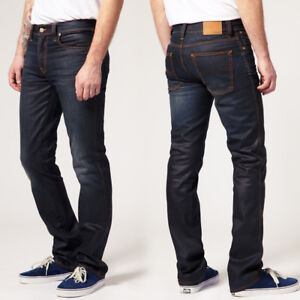 Nudie-Herren-Slim-Straight-Fit-Bio-Jeans-Hose-Slim-Jim-Glacier-Indigo-B-Ware