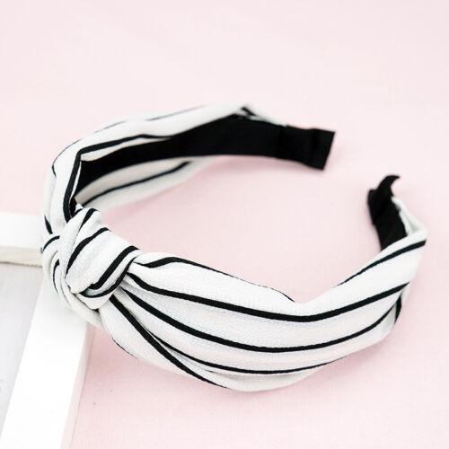 Women/'s Knot Headband Striped Fabric Hairband Print Wide Head Band Head Wrap