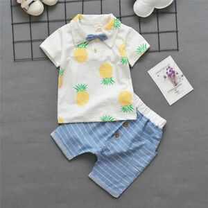 1 set baby toddler boys summer clothes cotton Tee+short pants kids outfits fruit