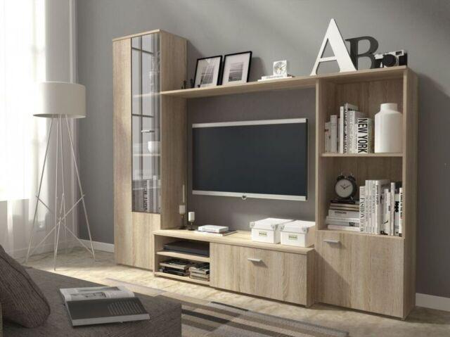 Living room furniture set display tv unit shelf glass cabinet sonoma white  front