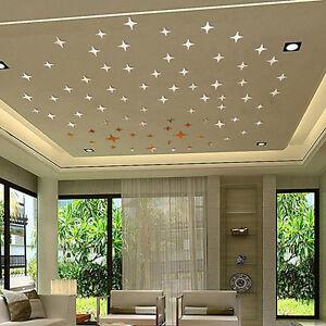 50PCS-3D-STAR-SHAPE-MIRROR-EFFECT-HOME-DECOR-WALL-ART-DECALS-STICKERS-RETRO