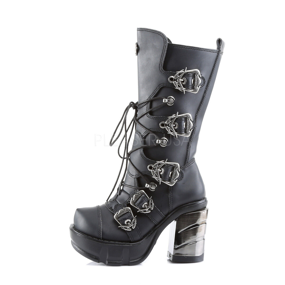 Demonia 3.5  Platform Block Heel Chromed ABS Buckle Calf Boots Cyber Goth 6-12